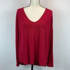 Bordeaux Red V Neck Sweater Anthropologie